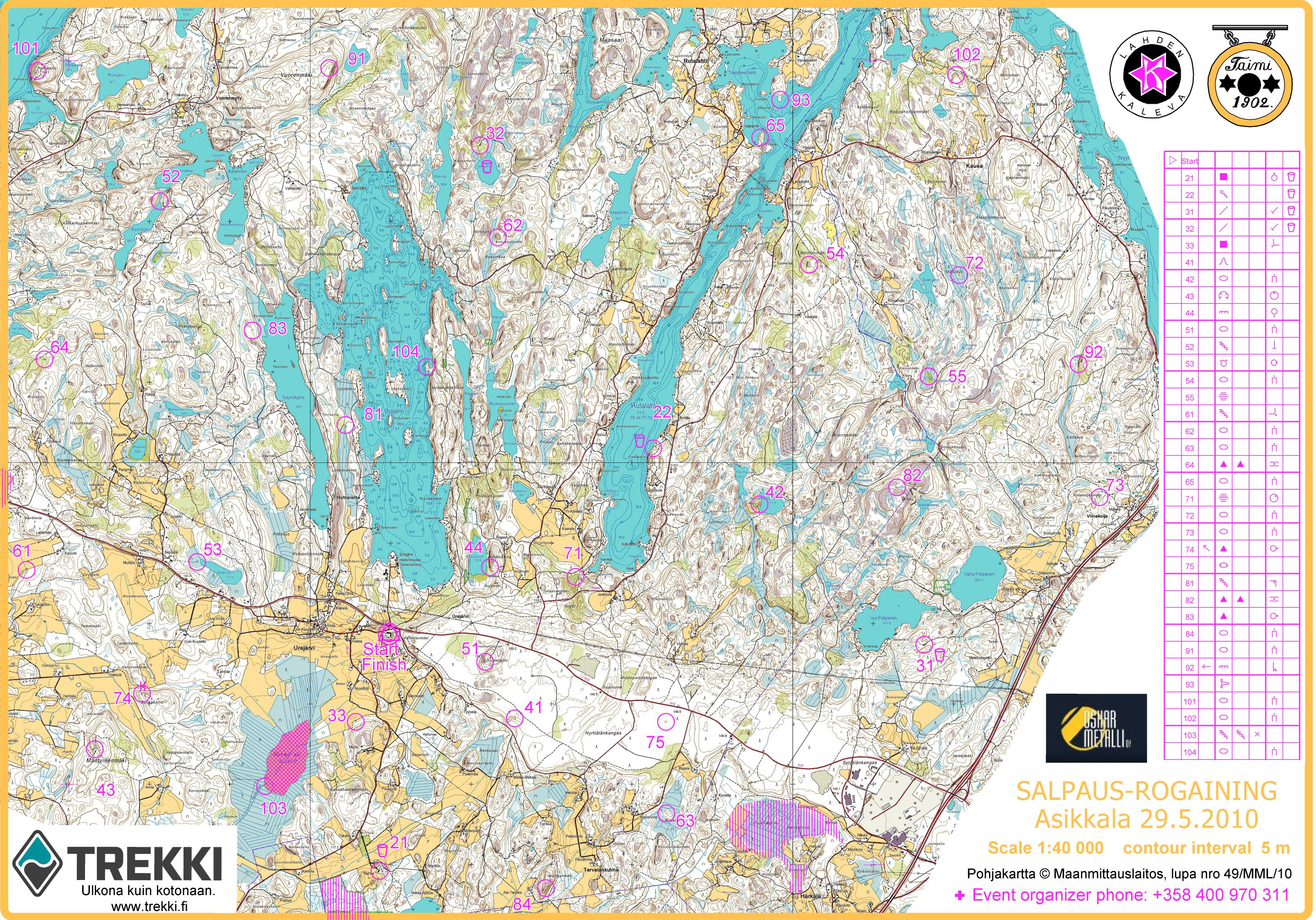 Salpaus Rogaining 6h May 29th 2010 Orienteering Map From